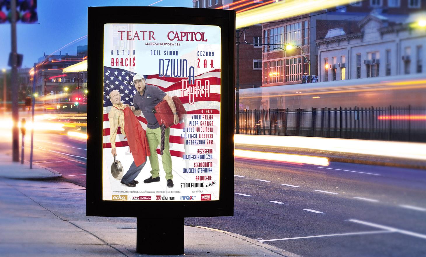 plakat dziwna para, Teatr Capitol, fot. Grażyna Gudejko